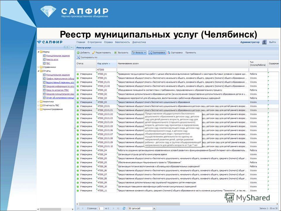 20 Реестр муниципальных услуг (Челябинск)
