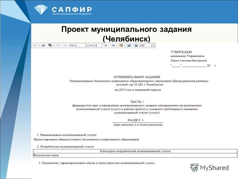 24 Проект муниципального задания (Челябинск)