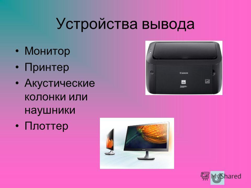 Устройства вывода Монитор Принтер Акустические колонки или наушники Плоттер