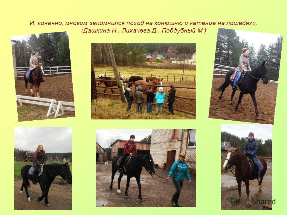 И, конечно, многим запомнился поход на конюшню и катание на лошадях». (Дашкина Н., Лихачева Д., Поддубный М.)