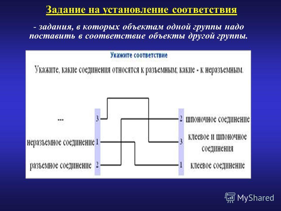 13 - задания, в которых объектам одной группы надо поставить в соответствие объекты другой группы. Задание на установление соответствия