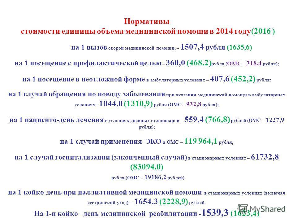 Нормативы стоимости единицы объема медицинской помощи в 2014 году(2016 ) на 1 вызов скорой медицинской помощи, – 1507,4 рубля (1635,6) на 1 посещение с профилактической целью – 360,0 (468,2) рубля ( ОМС – 318,4 рубля); на 1 посещение в неотложной фор