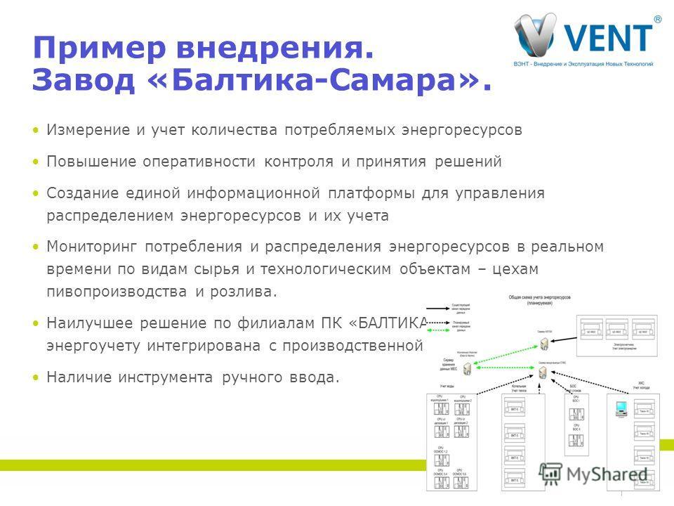 Пример внедрения. Завод «Балтика-Самара». Измерение и учет количества потребляемых энергоресурсов Повышение оперативности контроля и принятия решений Создание единой информационной платформы для управления распределением энергоресурсов и их учета Мон