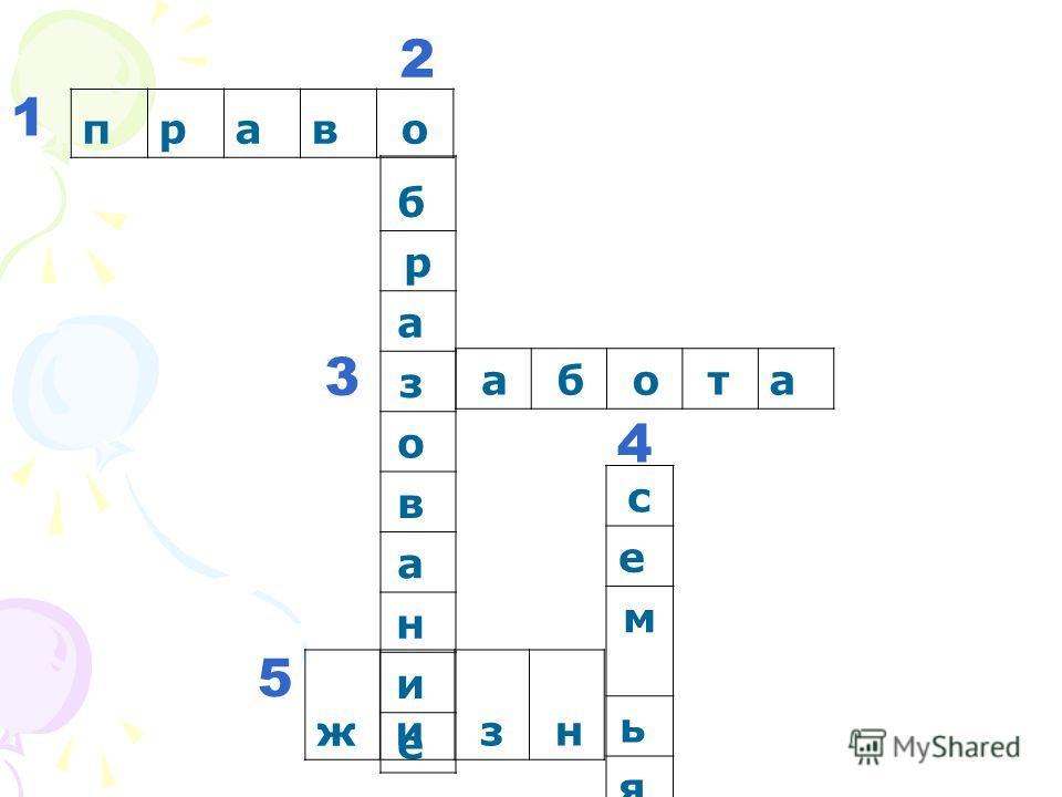 право 1 б р а з о в а н и е 2 а б о та 3 с е м ь я жи з н 4 5
