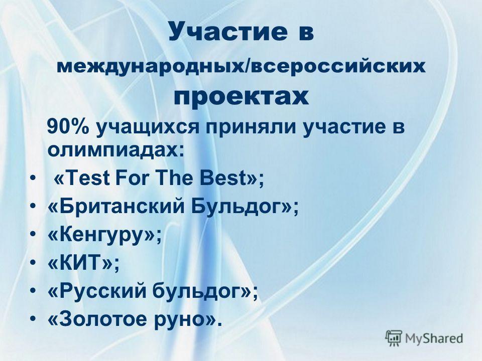 Участие в международных/всероссийских проектах 90% учащихся приняли участие в олимпиадах: «Test For The Best»; «Британский Бульдог»; «Кенгуру»; «КИТ»; «Русский бульдог»; «Золотое руно».