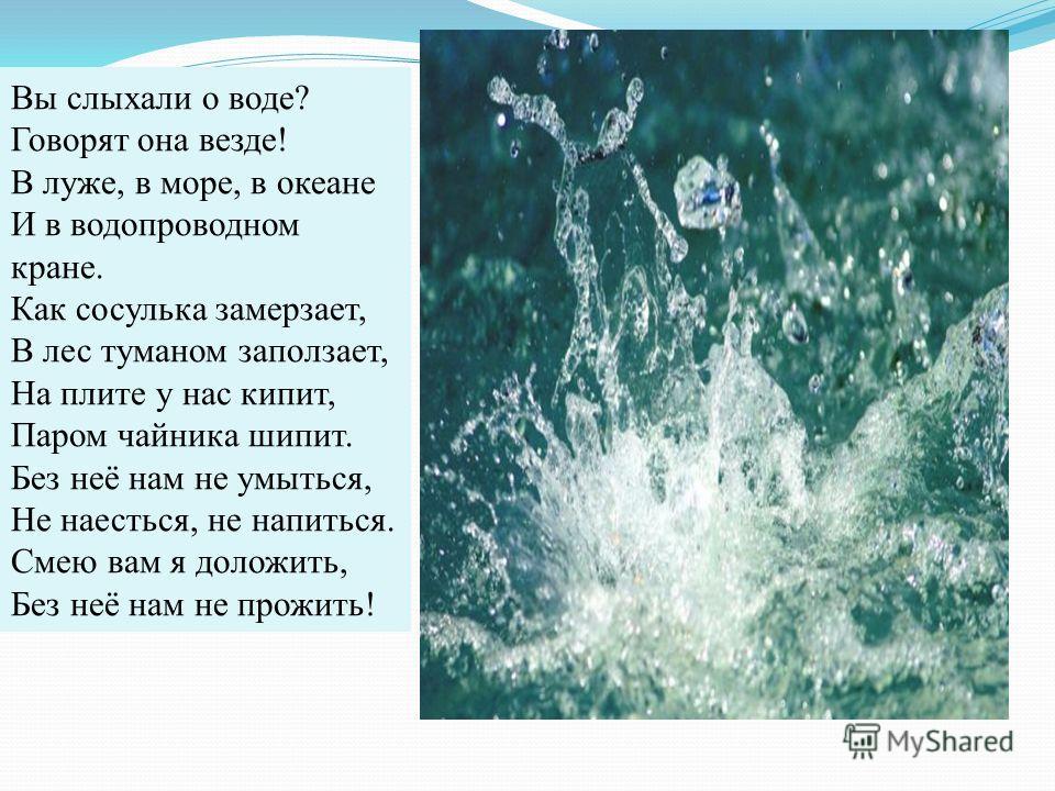 Вы слыхали о воде? Говорят она везде! В луже, в море, в океане И в водопроводном кране. Как сосулька замерзает, В лес туманом заползает, На плите у нас кипит, Паром чайника шипит. Без неё нам не умыться, Не наесться, не напиться. Смею вам я доложить,