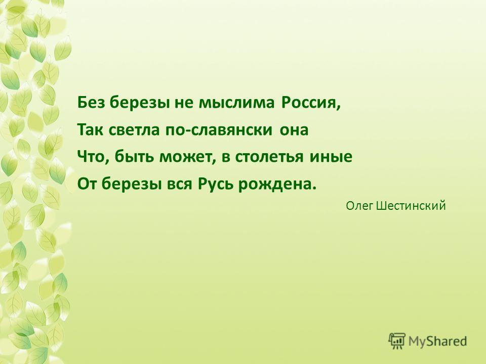 Без березы не мыслима Россия, Так светла по-славянски она Что, быть может, в столетья иные От березы вся Русь рождена. Олег Шестинский