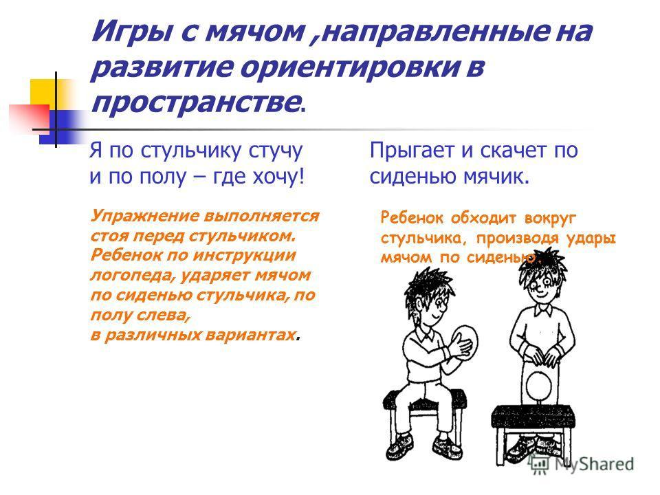 Упражнение выполняется стоя перед стульчиком. Ребенок по инструкции логопеда, ударяет мячом по сиденью стульчика, по полу слева, в различных вариантах. Ребенок обходит вокруг стульчика, производя удары мячом по сиденью. Я по стульчику стучу и по полу