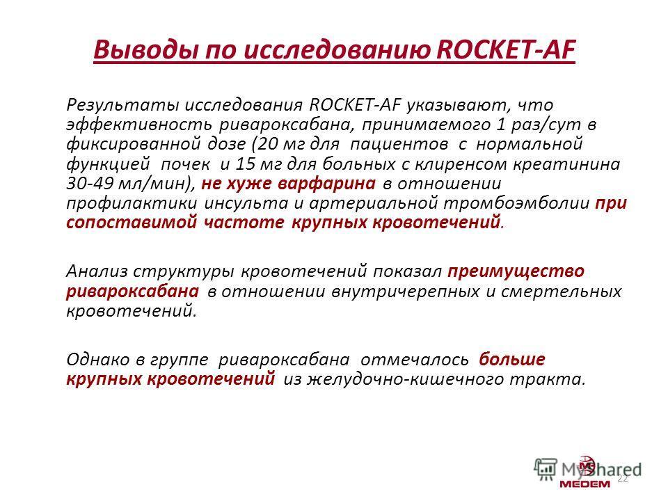 Выводы по исследованию ROCKET-AF Результаты исследования ROCKET-AF указывают, что эффективность ривароксабана, принимаемого 1 раз/сут в фиксированной дозе (20 мг для пациентов с нормальной функцией почек и 15 мг для больных с клиренсом креатинина 30-