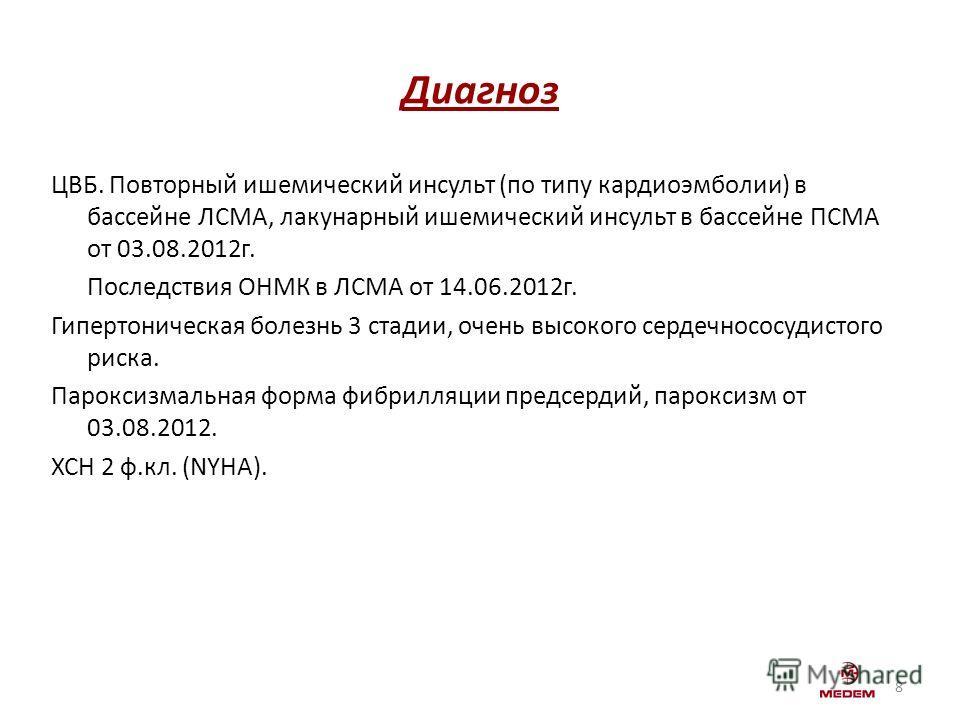 Диагноз ЦВБ. Повторный ишемический инсульт (по типу кардиоэмболии) в бассейне ЛСМА, лакунарный ишемический инсульт в бассейне ПСМА от 03.08.2012г. Последствия ОНМК в ЛСМА от 14.06.2012г. Гипертоническая болезнь 3 стадии, очень высокого сердечнососуди