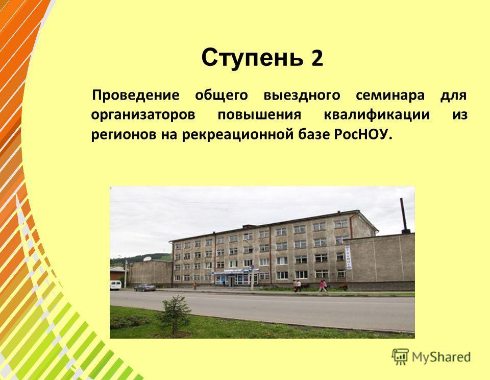 Ступень 2 Проведение общего выездного семинара для организаторов повышения квалификации из регионов на рекреационной базе РосНОУ.