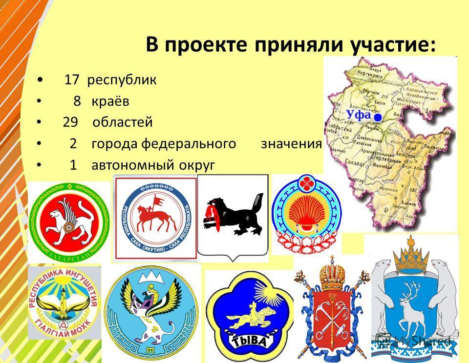 В проекте приняли участие: 17 республик 8 краёв 29 областей 2 города федерального значения 1 автономный округ