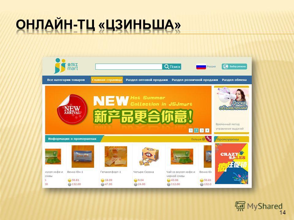 Позиционирование онлайн-ТЦ «Цзиньша» Это не онлайн-магазин и не банк, а международная электронная финансово- коммерческая платформа для быстрого и удобного осуществления сделок O2O. 13