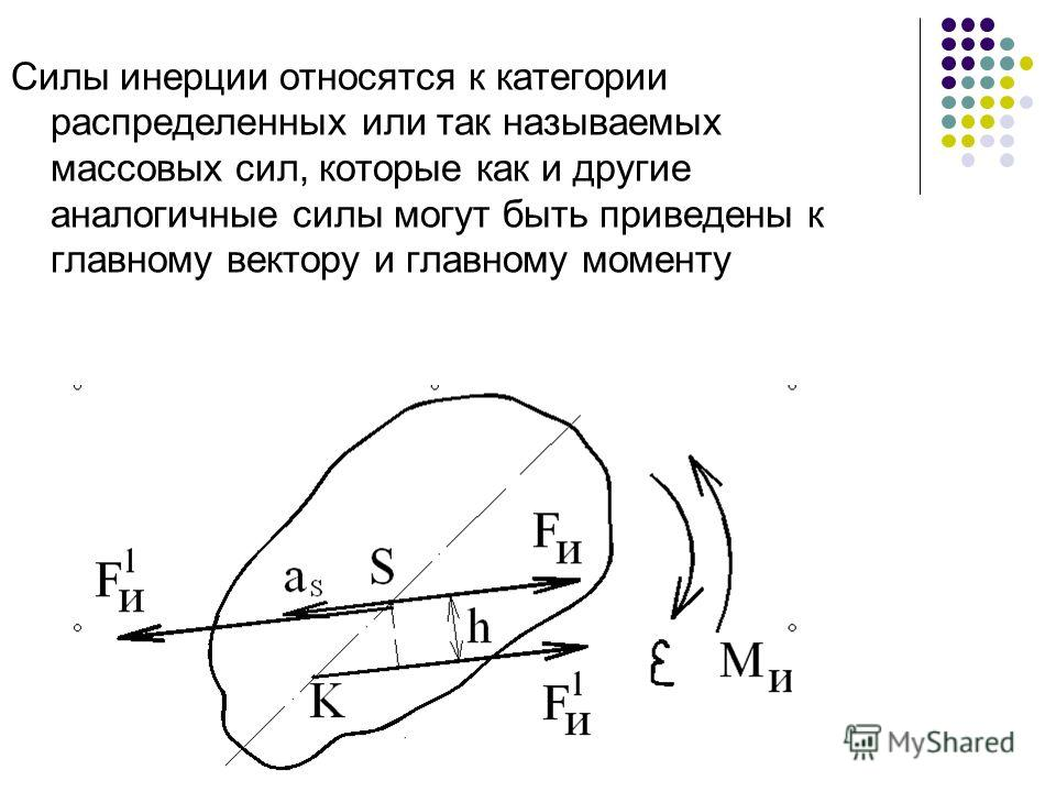 Силы инерции относятся к категории распределенных или так называемых массовых сил, которые как и другие аналогичные силы могут быть приведены к главному вектору и главному моменту