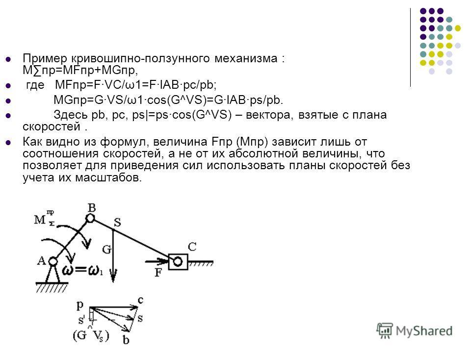 Пример кривошипно-ползунного механизма : Мпр=МFпр+MGпр, где МFпр=F·VC/ω1=F·lAB·рс/pb; MGпр=G·VS/ω1·cos(G^VS)=G·lAB·ps/pb. Здесь pb, pc, ps|=ps·cos(G^VS) – вектора, взятые с плана скоростей. Как видно из формул, величина Fпр (Мпр) зависит лишь от соот