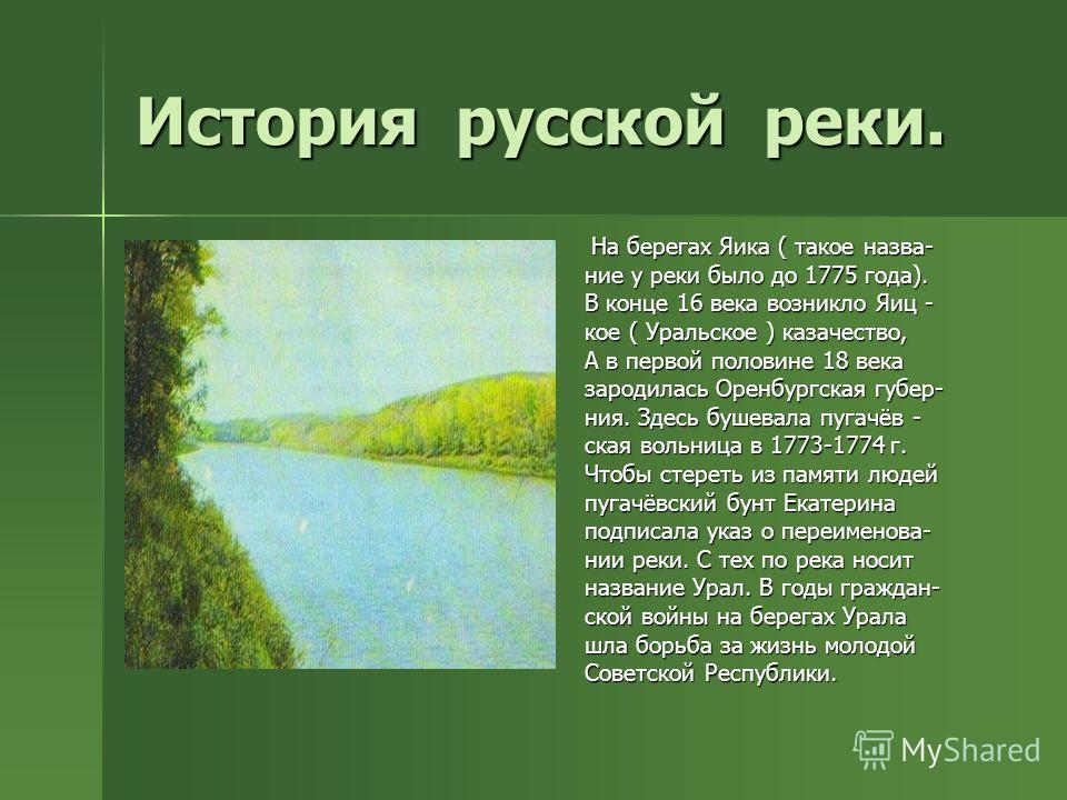 История русской реки. На берегах Яика ( такое назва- На берегах Яика ( такое назва- ние у реки было до 1775 года). В конце 16 века возникло Яиц - кое ( Уральское ) казачество, А в первой половине 18 века зародилась Оренбургская губер- ния. Здесь буше