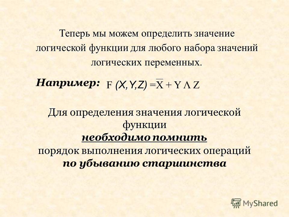 Например: Для определения значения логической функции необходимо помнить порядок выполнения логических операций порядок выполнения логических операций по убыванию старшинства Теперь мы можем определить значение логической функции для любого набора зн
