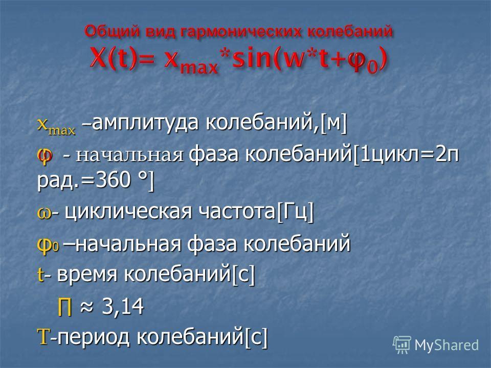 x max – амплитуда колебаний, [ м ] φ - начальная фаза колебаний [ 1цикл=2π рад.=360 ° ] ω- циклическая частота [ Гц ] φ 0 –начальная фаза колебаний t- время колебаний [ с ] 3,14 3,14 T- период колебаний [ с ] ω