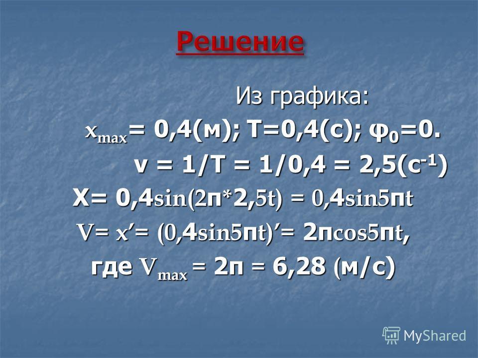 Из графика: Из графика: x max = 0,4(м); Т=0,4(с); φ 0 =0. x max = 0,4(м); Т=0,4(с); φ 0 =0. ν = 1/Т = 1/0,4 = 2,5(с -1 ) ν = 1/Т = 1/0,4 = 2,5(с -1 ) Х= 0,4 sin(2 π * 2, 5t) = 0, 4 sin5 π t V= x= (0, 4 sin5 π t)= 2π cos5 π t, где V max = 2π = 6,28 (