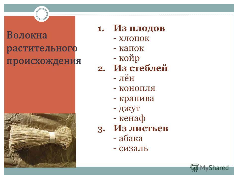 Волокна растительного происхождения 1. Из плодов - хлопок - капок - койр 2. Из стеблей - лён - конопля - крапива - джут - кенаф 3. Из листьев - абака - сизаль