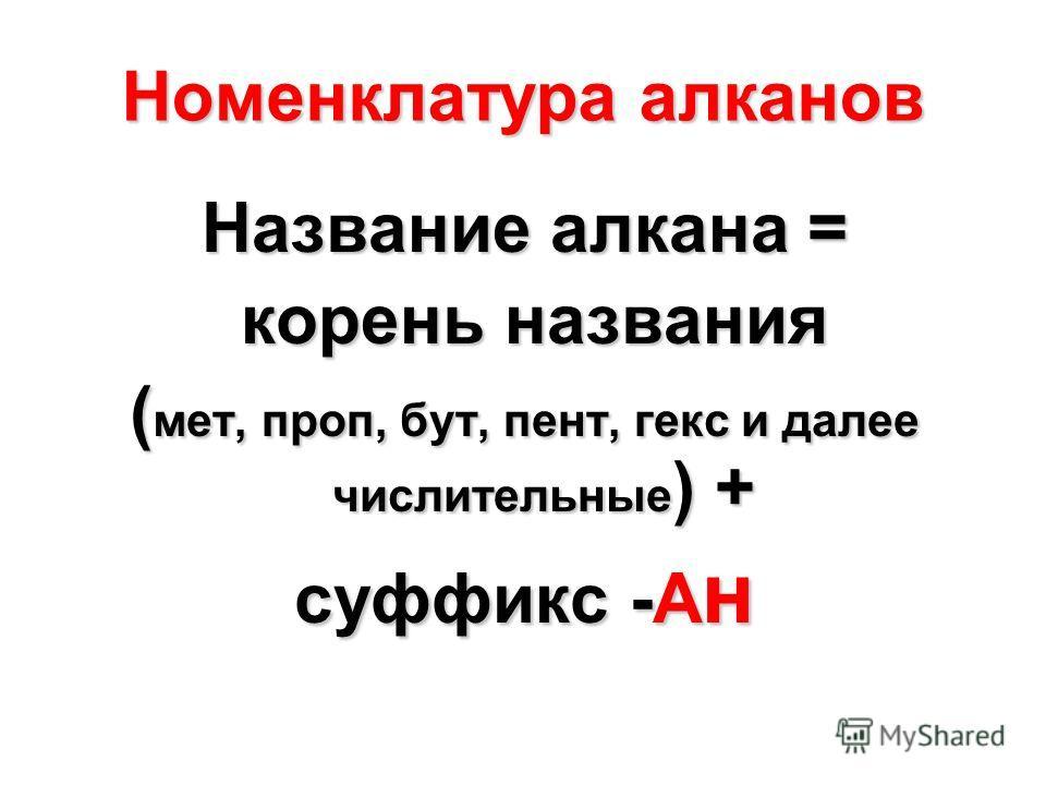 Номенклатура алканов Название алкана = корень названия корень названия ( мет, проп, бут, пент, гекс и далее числительные ) + суффикс -А н