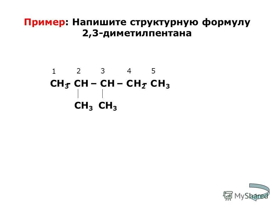 Пример: Напишите структурную формулу 2,3-диметилпентана С - С – С – С - С СН 3 1 2345 Н3Н3 Н3Н3 ННН2Н2