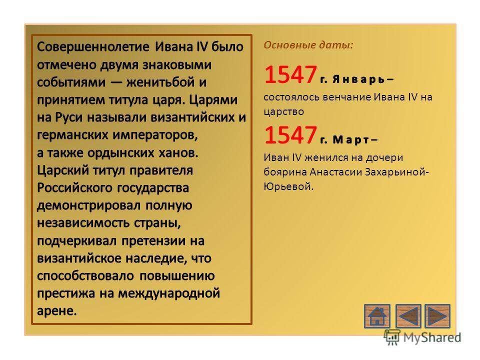 РОССИЯ В XVІ В. Основные даты: