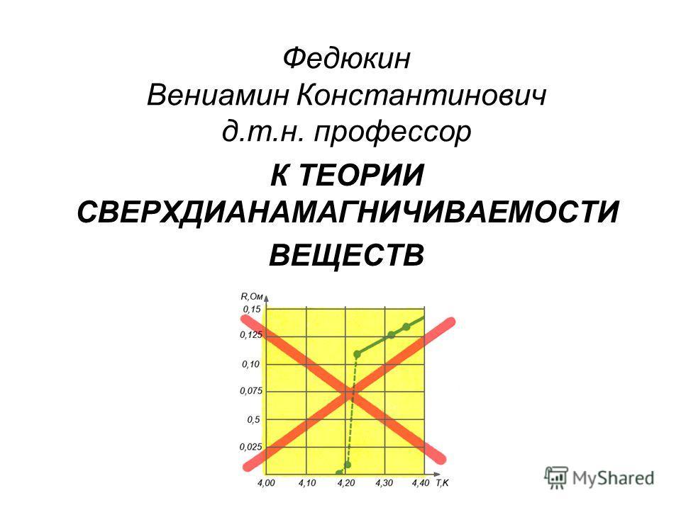 Федюкин Вениамин Константинович д.т.н. профессор К ТЕОРИИ СВЕРХДИАНАМАГНИЧИВАЕМОСТИ ВЕЩЕСТВ