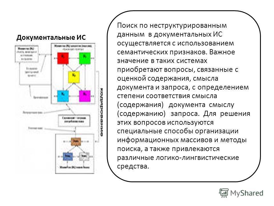 Документальные ИС Поиск по неструктурированным данным в документальных ИС осуществляется с использованием семантических признаков. Важное значение в таких системах приобретают вопросы, связанные с оценкой содержания, смысла документа и запроса, с опр