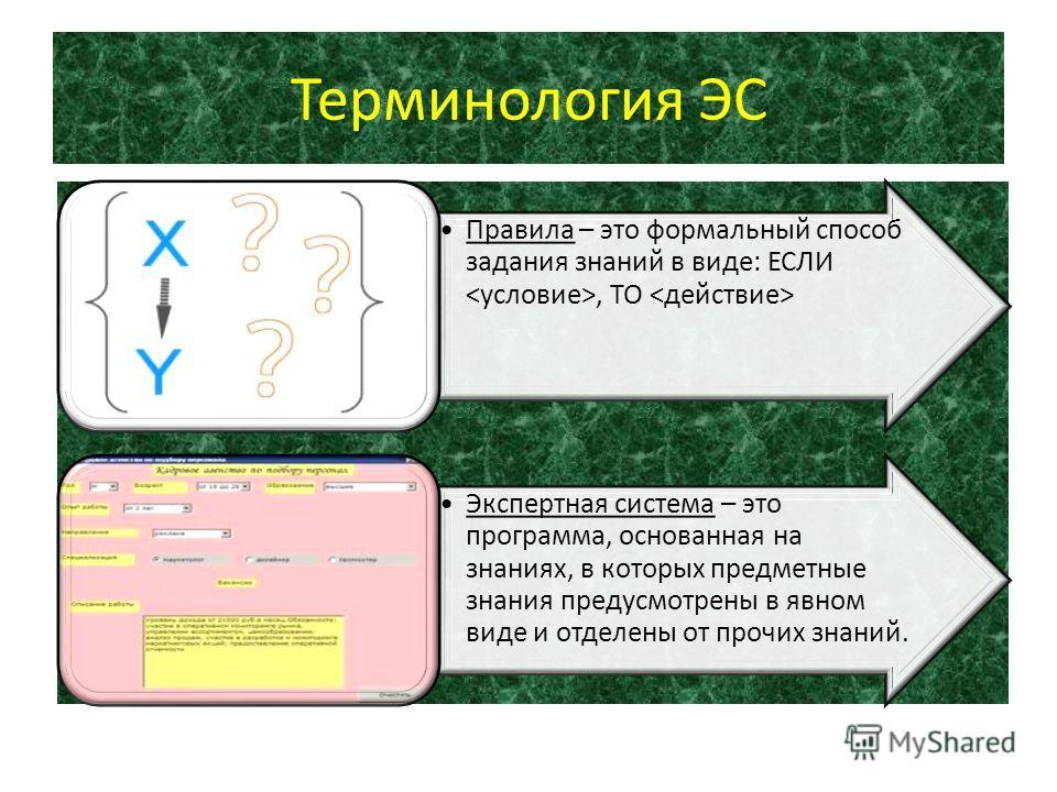 Терминология ЭС Правила – это формальный способ задания знаний в виде: ЕСЛИ, ТО Экспертная система – это программа, основанная на знаниях, в которых предметные знания предусмотрены в явном виде и отделены от прочих знаний.