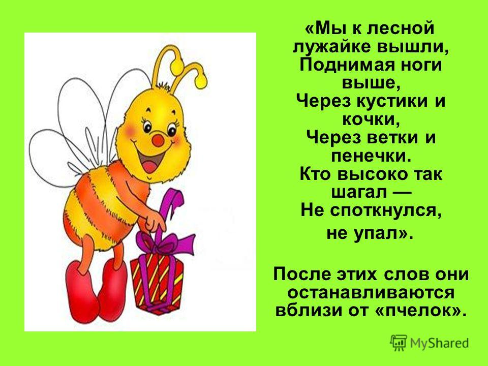 «Мы к лесной лужайке вышли, Поднимая ноги выше, Через кустики и кочки, Через ветки и пенечки. Кто высоко так шагал Не споткнулся, не упал». После этих слов они останавливаются вблизи от «пчелок».