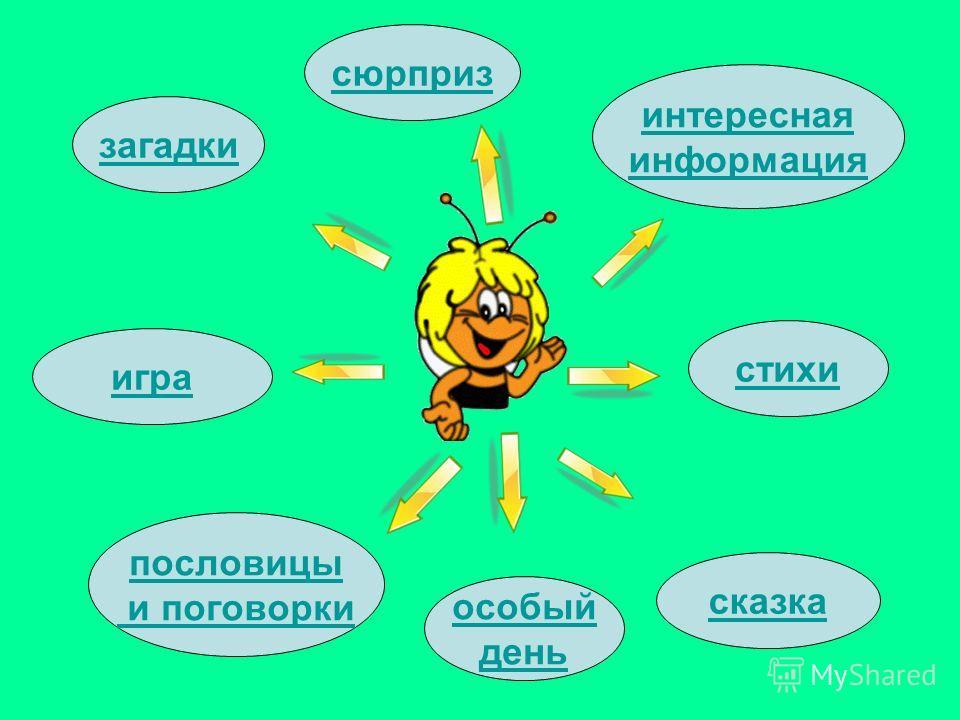 стихи загадки пословицы и поговорки интересная информация сказка игра особый день сюрприз