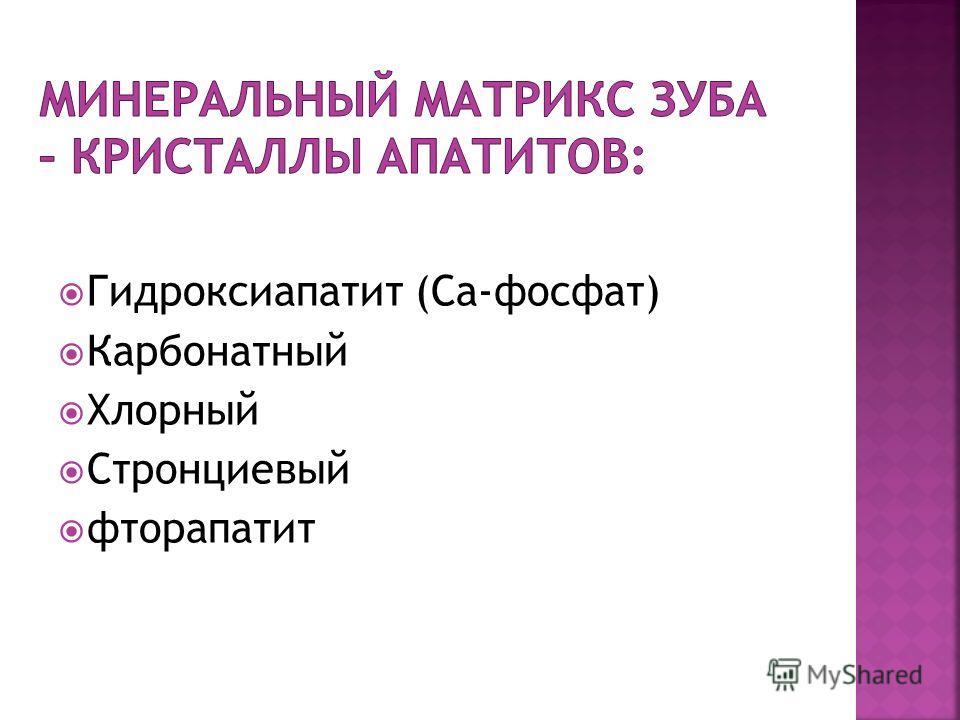 Гидроксиапатит (Са-фосфат) Карбонатный Хлорный Стронциевый фторапатит