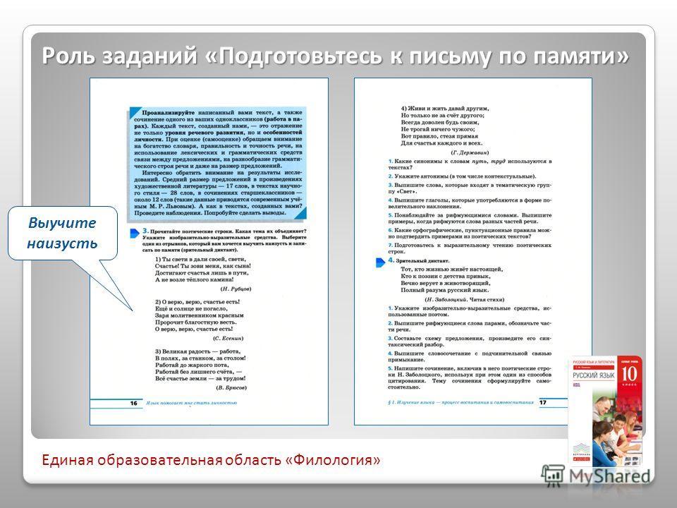 Выучите наизусть Роль заданий «Подготовьтесь к письму по памяти» Единая образовательная область «Филология»