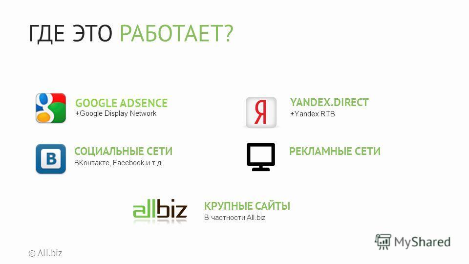 ГДЕ ЭТО РАБОТАЕТ? © All.biz GOOGLE ADSENCE +Google Display Network YANDEX.DIRECT +Yandex RTB СОЦИАЛЬНЫЕ СЕТИ ВКонтакте, Facebook и т.д. РЕКЛАМНЫЕ СЕТИ КРУПНЫЕ САЙТЫ В частности All.biz