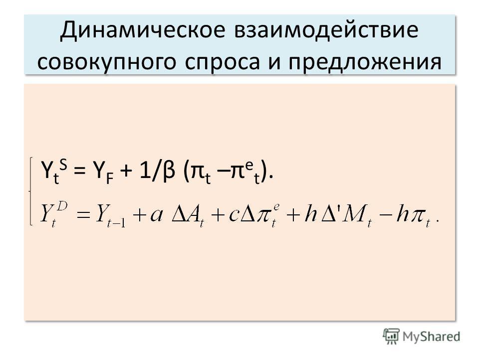 Динамическое взаимодействие совокупного спроса и предложения Y t S = Y F + 1/β (π t –π e t ). Y t S = Y F + 1/β (π t –π e t ).
