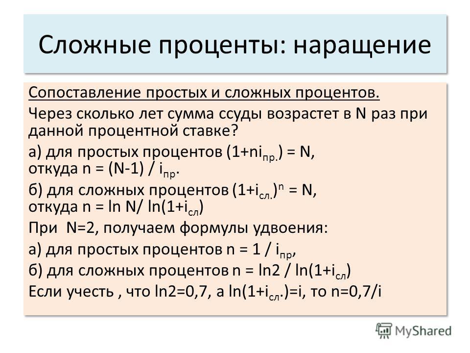 Сложные проценты: наращение Сопоставление простых и сложных процентов. Через сколько лет сумма ссуды возрастет в N раз при данной процентной ставке? а) для простых процентов (1+ni пр. ) = N, откуда n = (N-1) / i пр. б) для сложных процентов (1+i сл.