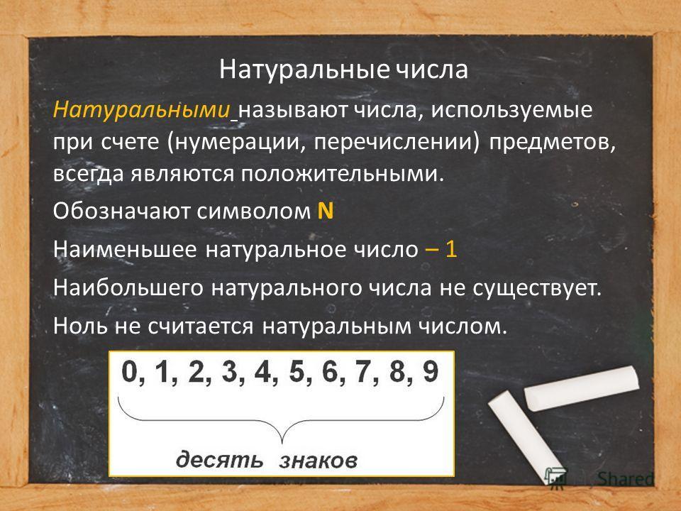 Натуральные числа Натуральными называют числа, используемые при счете (нумерации, перечислении) предметов, всегда являются положительными. Обозначают символом N Наименьшее натуральное число – 1 Наибольшего натурального числа не существует. Ноль не сч