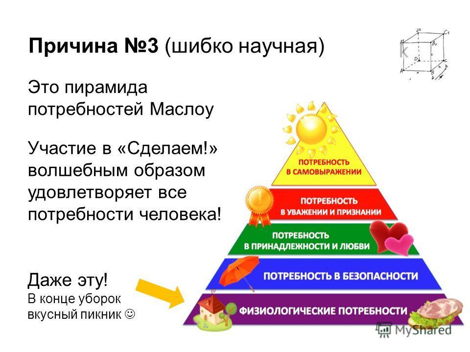 Причина 3 (шибко научная) Это пирамида потребностей Маслоу Участие в «Сделаем!» волшебным образом удовлетворяет все потребности человека! Даже эту! В конце уборок вкусный пикник