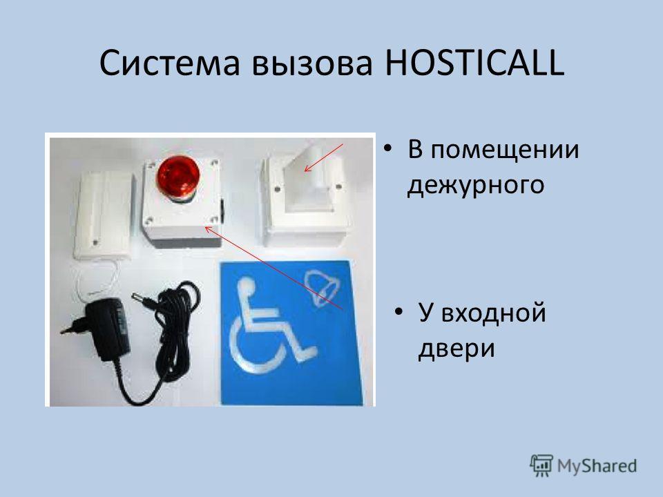 Система вызова HOSTICALL У входной двери В помещении дежурного