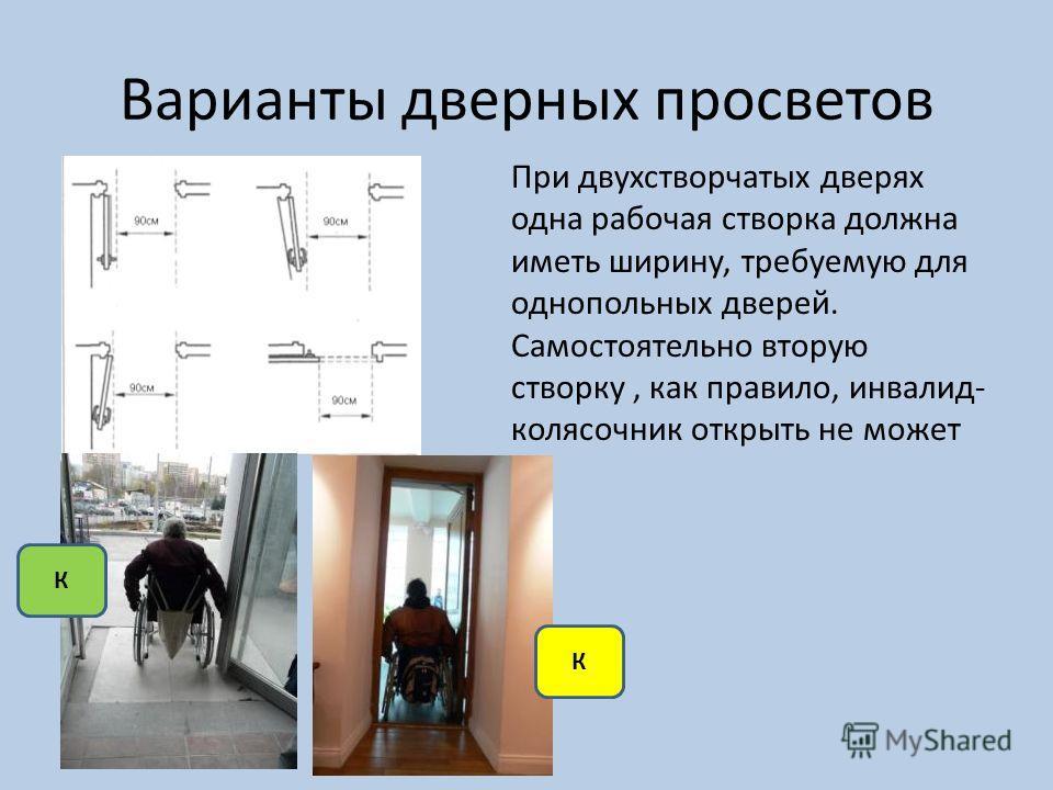 Варианты дверных просветов При двухстворчатых дверях одна рабочая створка должна иметь ширину, требуемую для однопольных дверей. Самостоятельно вторую створку, как правило, инвалид- колясочник открыть не может К К