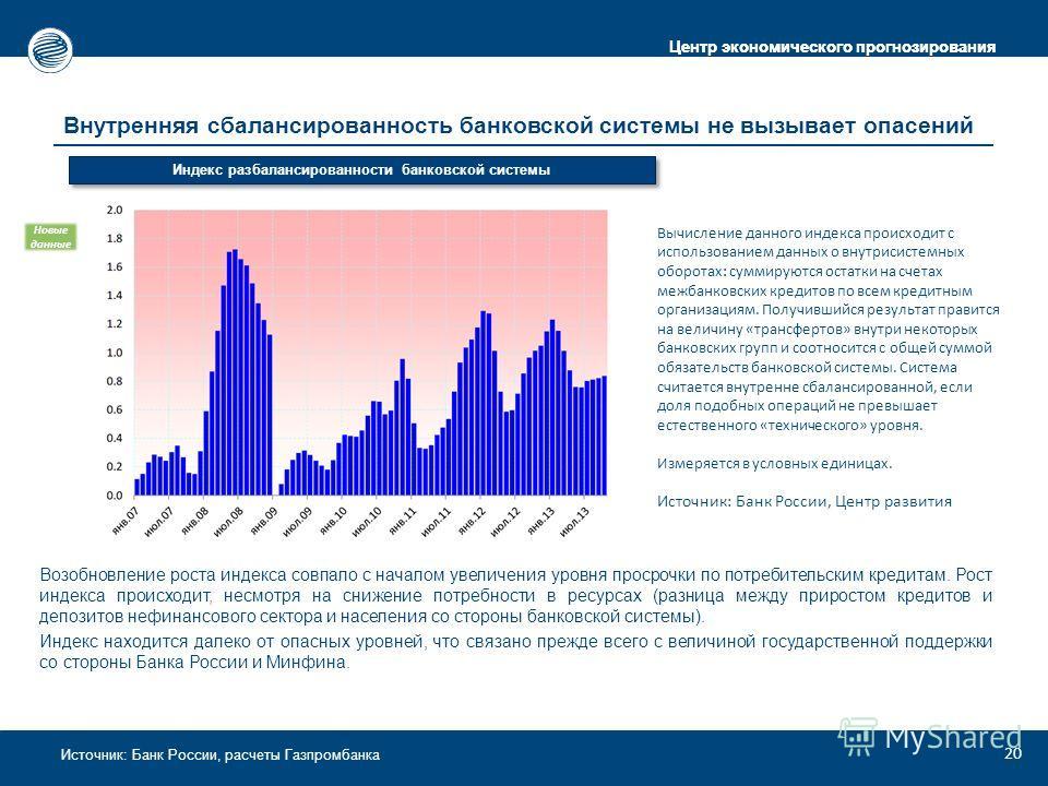 Центр экономического прогнозирования Источник: Банк России, расчеты Газпромбанка Внутренняя сбалансированность банковской системы не вызывает опасений Возобновление роста индекса совпало с началом увеличения уровня просрочки по потребительским кредит