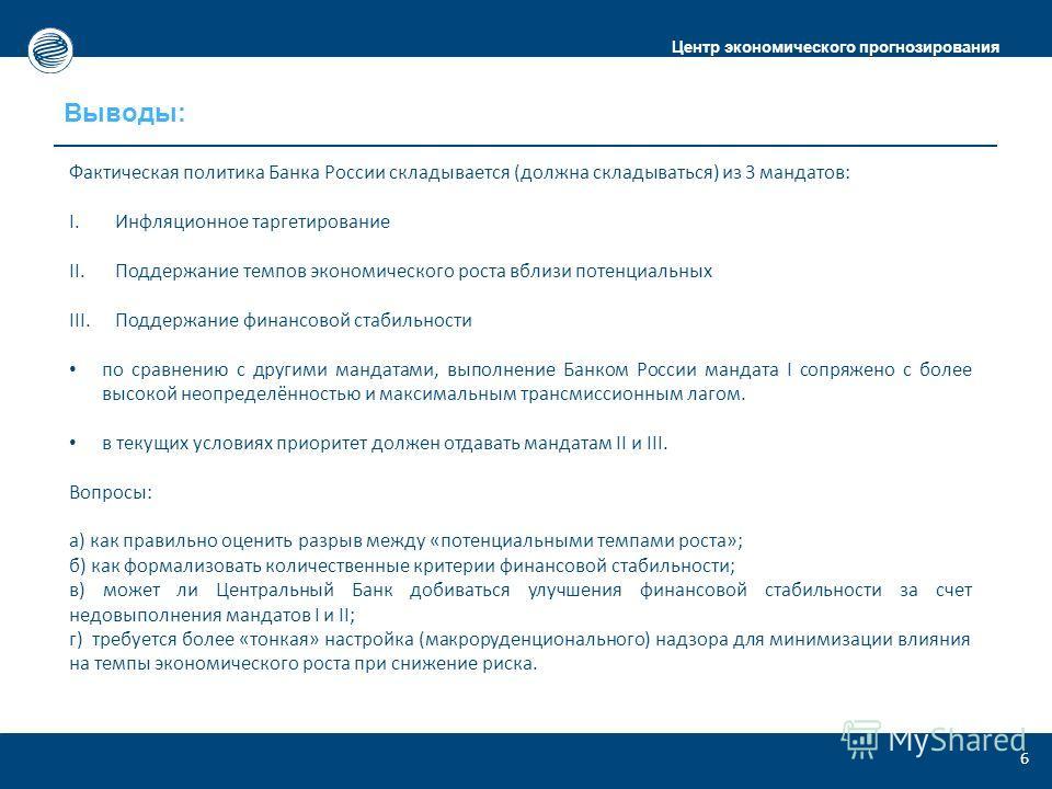 Центр экономического прогнозирования Выводы: 6 Фактическая политика Банка России складывается (должна складываться) из 3 мандатов: I.Инфляционное таргетирование II.Поддержание темпов экономического роста вблизи потенциальных III.Поддержание финансово