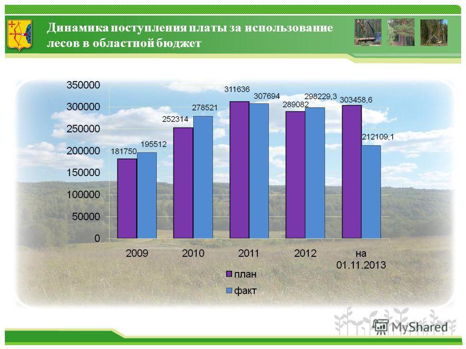 Динамика поступления платы за использование лесов в областной бюджет