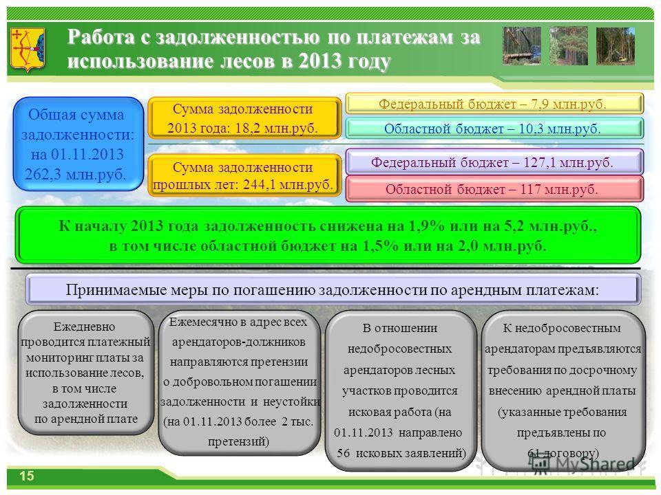 Работа с задолженностью по платежам за использование лесов в 2013 году Общая сумма задолженности: на 01.11.2013 262,3 млн.руб. Сумма задолженности 2013 года: 18,2 млн.руб. Сумма задолженности прошлых лет: 244,1 млн.руб. Федеральный бюджет – 7,9 млн.р