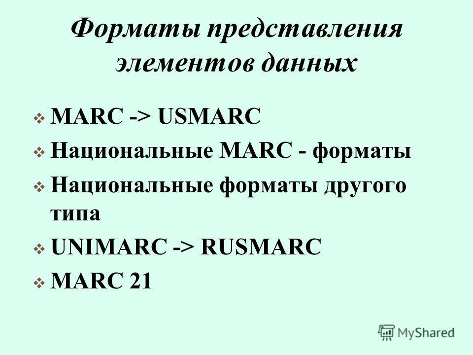 Форматы представления элементов данных MARC -> USMARC Национальные MARC - форматы Национальные форматы другого типа UNIMARC -> RUSMARC MARC 21