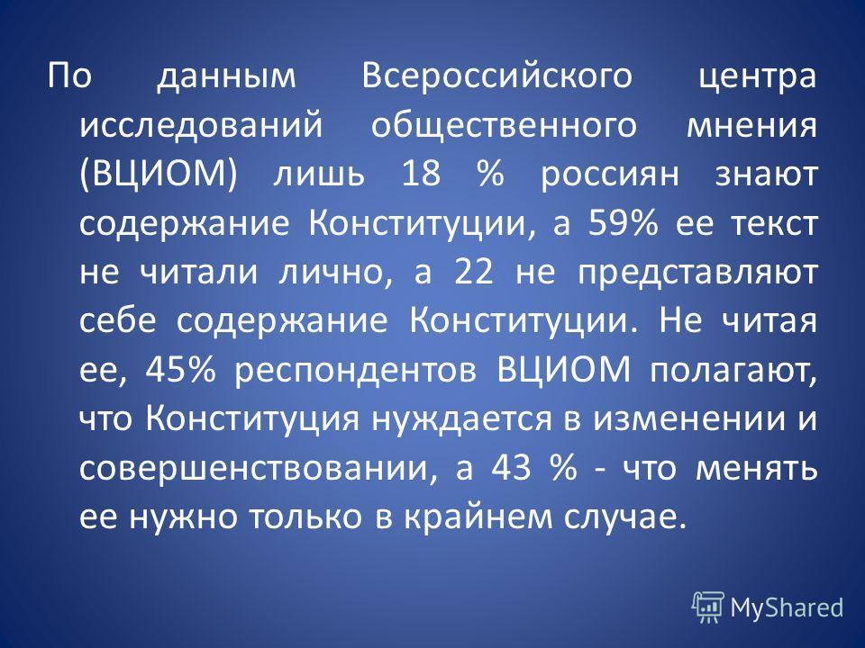 По данным Всероссийского центра исследований общественного мнения (ВЦИОМ) лишь 18 % россиян знают содержание Конституции, а 59% ее текст не читали лично, а 22 не представляют себе содержание Конституции. Не читая ее, 45% респондентов ВЦИОМ полагают,