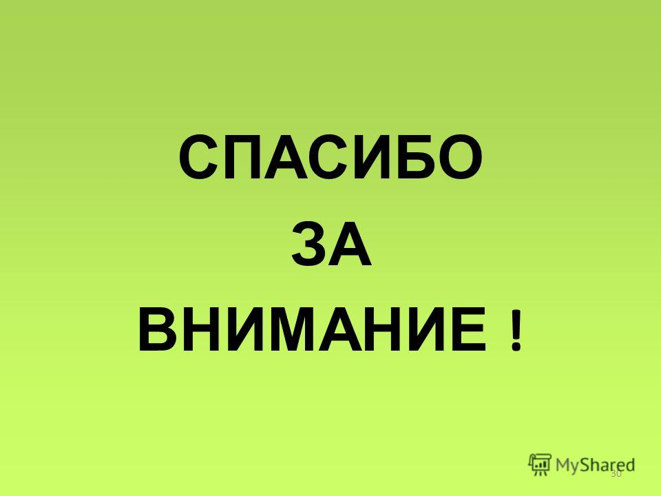 СПАСИБО ЗА ВНИМАНИЕ ! 30