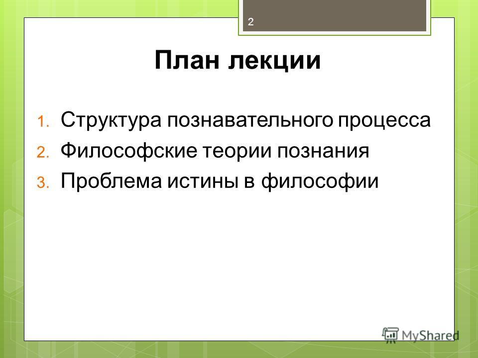 План лекции 1. Структура познавательного процесса 2. Философские теории познания 3. Проблема истины в философии 2
