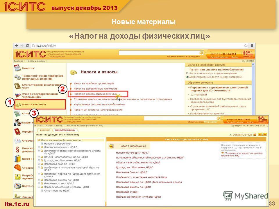 its.1c.ru 33 выпуск декабрь 2013 « Налог на доходы физических лиц » Новые материалы 2 1 3